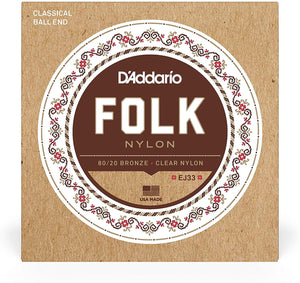 D'Addario EJ33 Ball End Nylon Folk Guitar Strings, Normal Tension Clear 80-20 Bronze