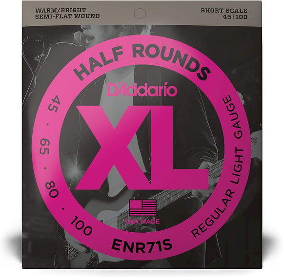 D'Addario ENR71S Half Round Bass Guitar Strings Regular Light 45-100 Short Scale