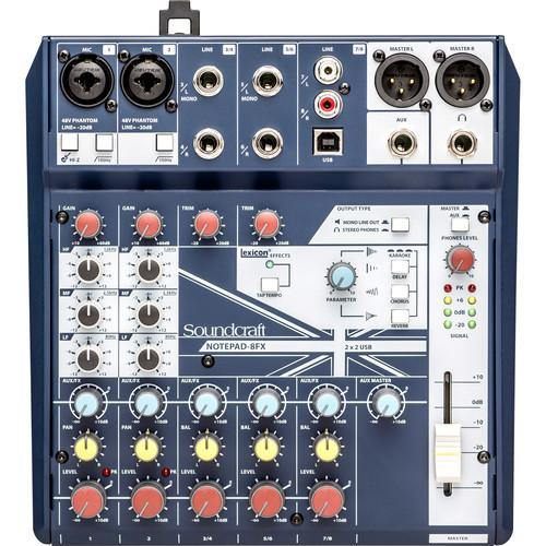 Soundcraft Notepad 8FX Small-Format Analog Mixing Console With Usb I/O And Lexicon Effects