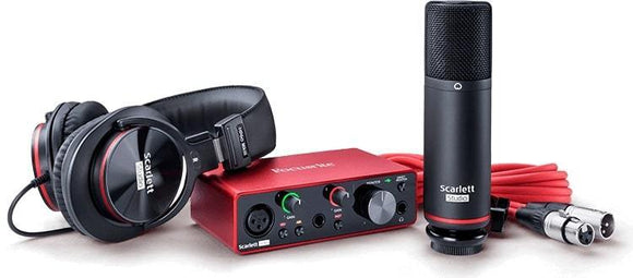 Focusrite Solo Studio 2-in / 2-out USB Audio Interface Recording Bundle W/ Condenser Microphone And Headphones