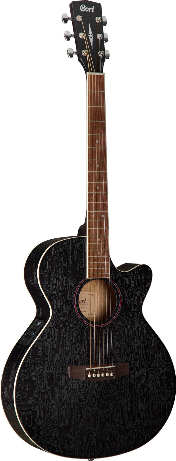 Cort SFX Series Ash Burl C/E Acoustic Guitar, Open Pore Black