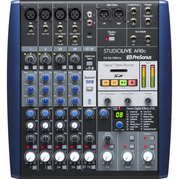 Presonus Studiolive AR8C USB Type-C 8-Channel Hybrid Performance And Recording Mixer