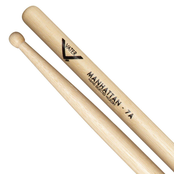Vater Percussion American Wood Tip Hickory Drumsticks Manhattan 7A