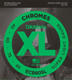 D'Addario Chromes Flat Wound Electric Bass Strings