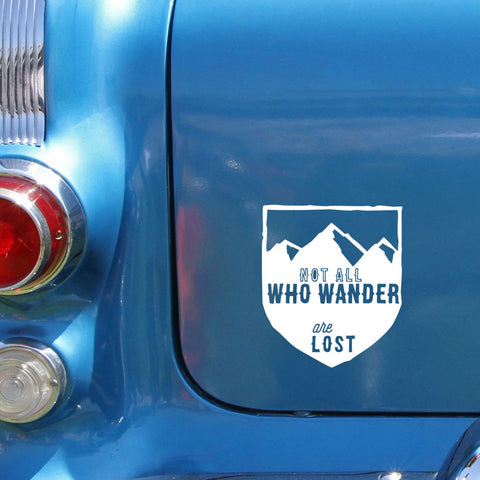 "Whimsical Hand-Drawn ""Not All Who Wander are Lost"" Car Decal"