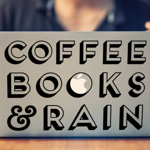 Coffee, Books, and Rain: Macbook Decal for Book Lovers