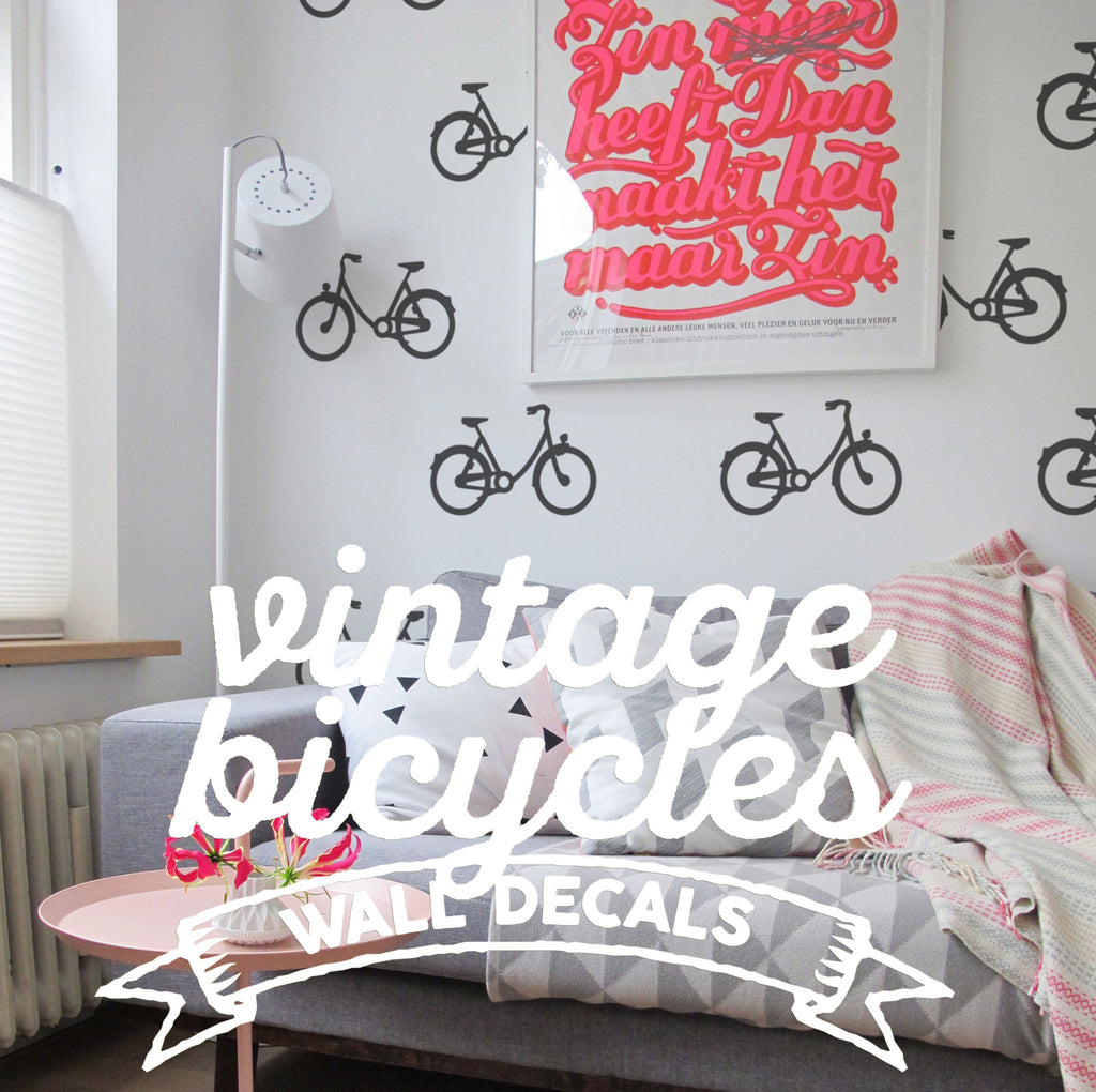 Bicycle Pattern Wall Decal Packs: Cool Urban Temporary Wallpaper ...