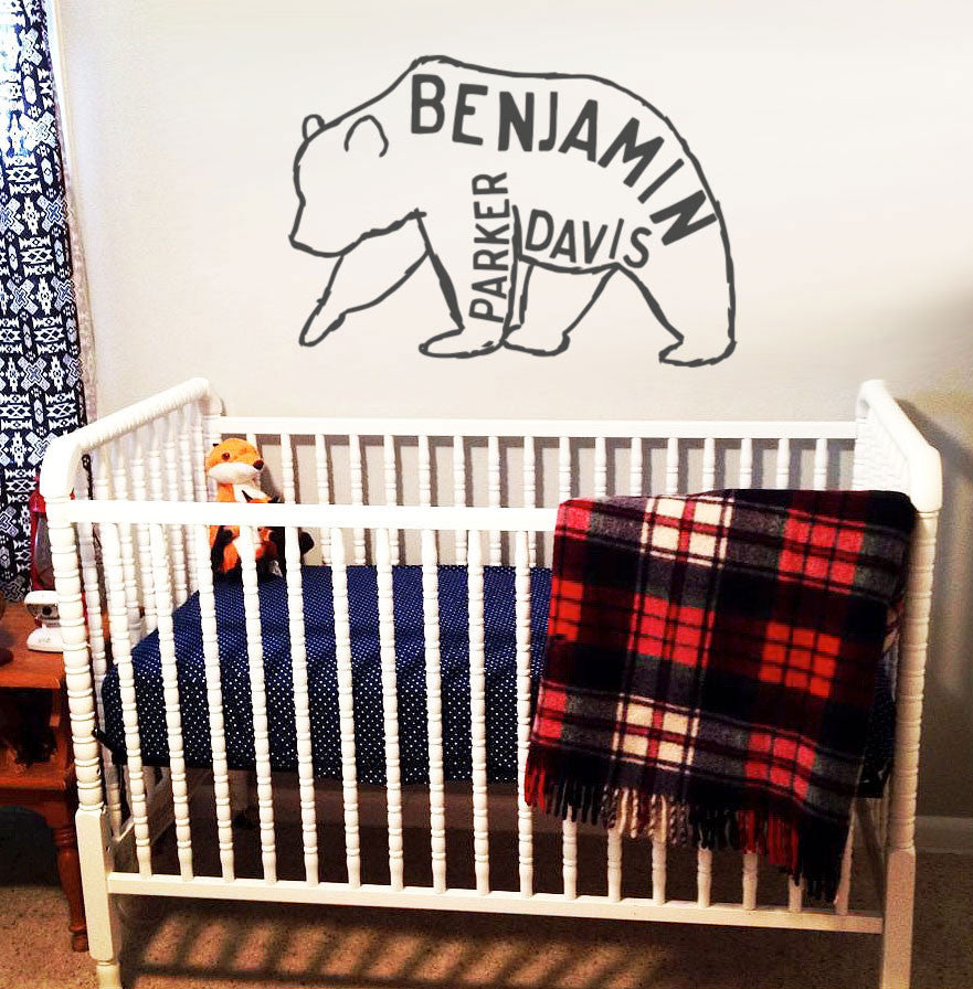 Whimsical HandDrawn Bear Personalized Baby Name Wall Decal IINKY - Baby name wall decals