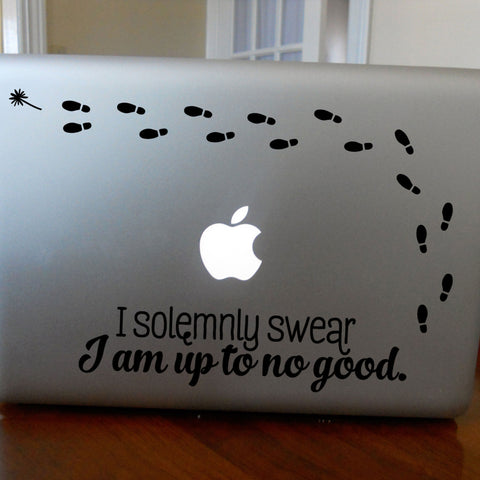 I Solemnly Swear I'm Up to No Good: Macbook Decal with Marauder's Footprints