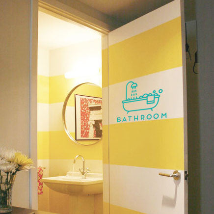Modern Bathroom Door Decal Sign: Clean and Simple Bathtub Design