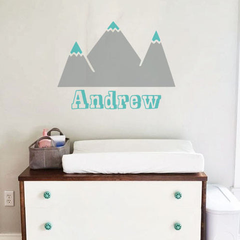 Modern Mountaintop Baby Name Custom Nursery Wall Decal
