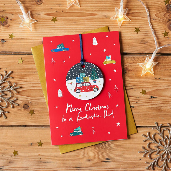 Merry Christmas to a Fantastic Dad Keepsake Bauble Card