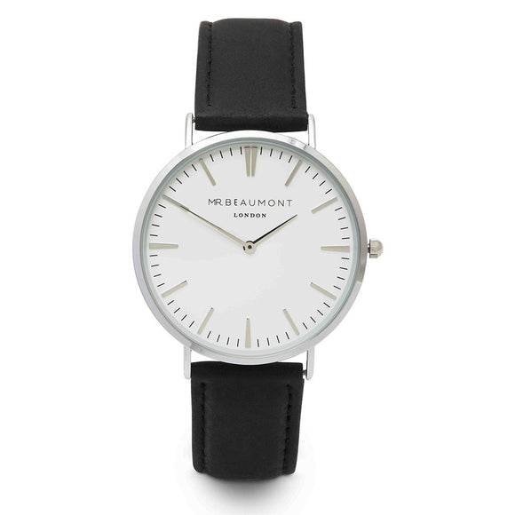 Silver Case/Black Leather Watch
