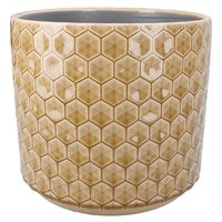 Large Mustard Honeycomb Ceramic Pot Cover