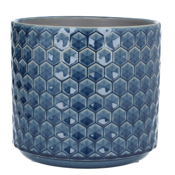 Navy Honeycomb Ceramic Pot Cover Large