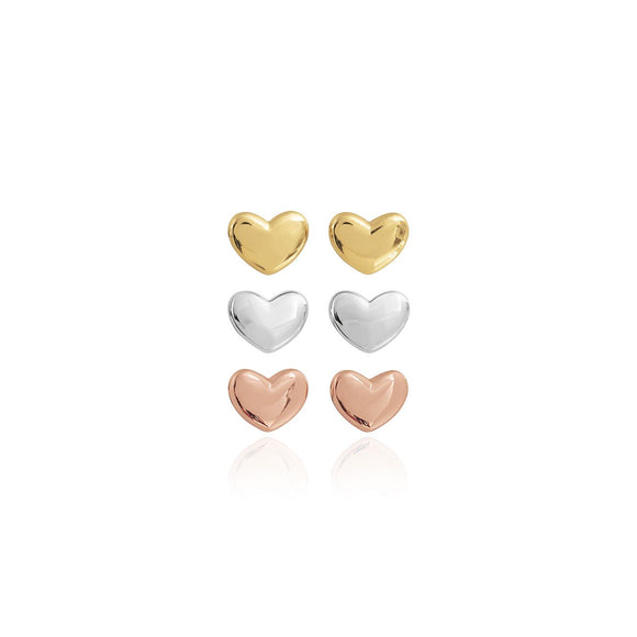 Joma Jewellery - Florence Silver Set of 3 Heart Earrings