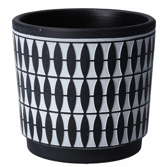 Black Geo Painted Terracotta Pot Cover