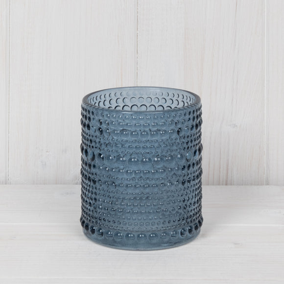 Blue Dimple Glass Tealight Holder