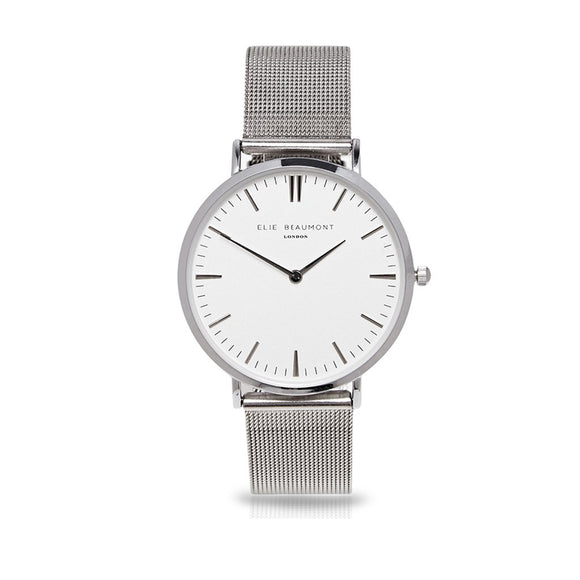Oxford Large Mesh Silver/White Watch