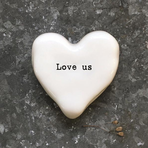 East of India White Ceramic Heart - Love Us