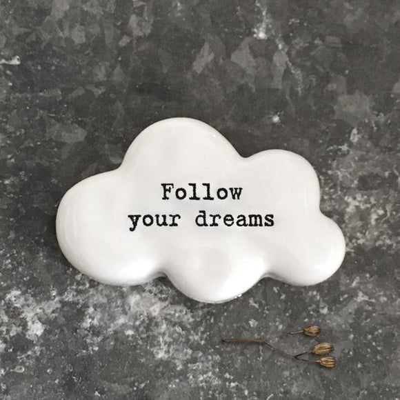 East of India  White Ceramic Cloud - Follow Your Dreams