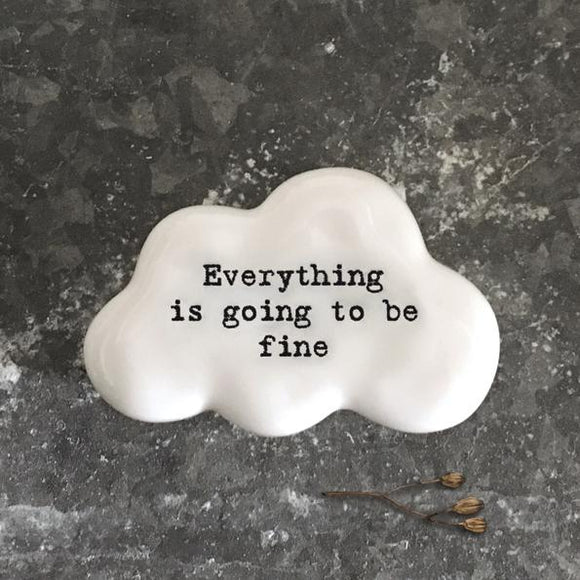East of India White Ceramic Cloud - Everything Is Going To Be Fine