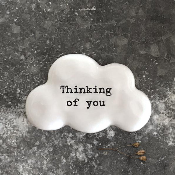 East of India White Ceramic Cloud - Thinking Of You
