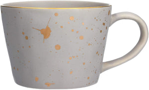 Light Grey Ceramic Mug Gold Splash