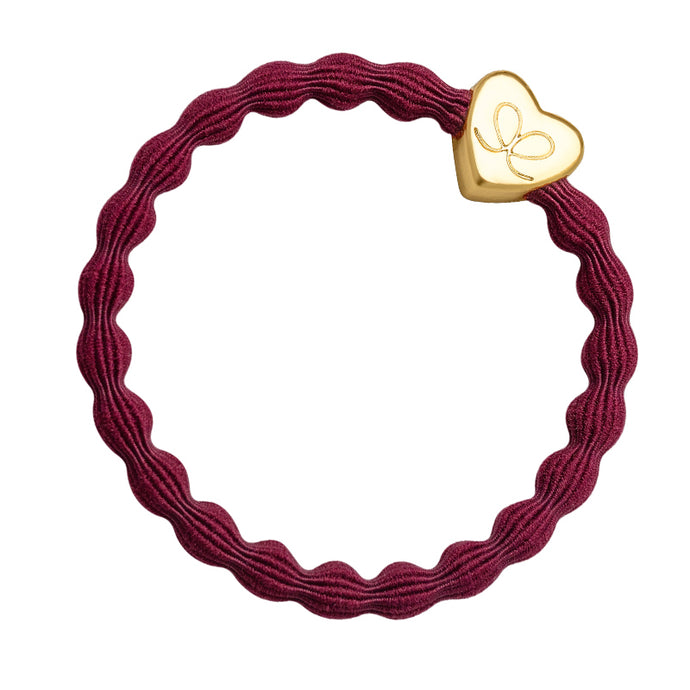 Gold Heart - Burgundy Red Hairband