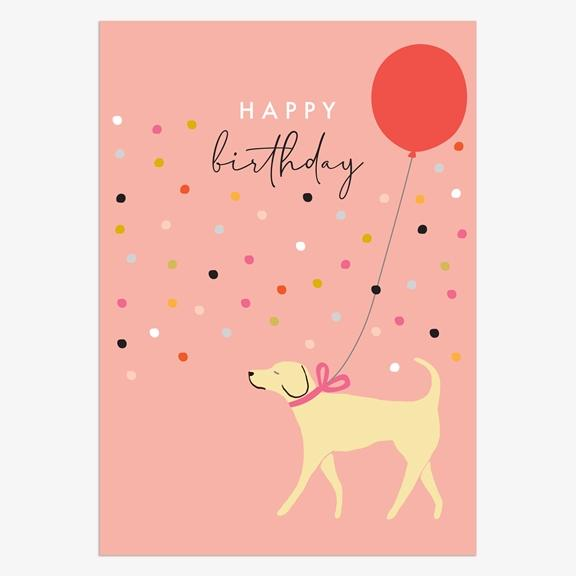 Happy Birthday - Dog with Balloon