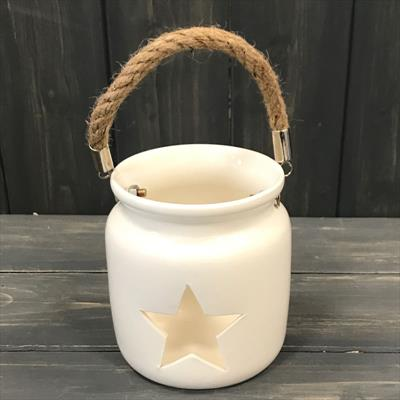 White Tealight Holder with Star Cut Out