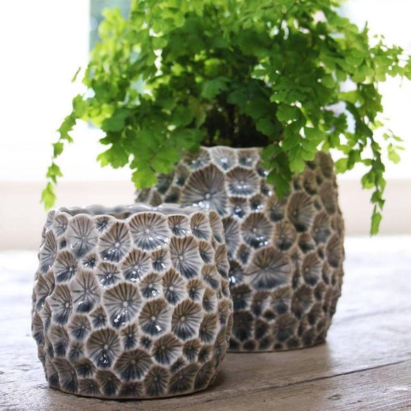 Large Grey Ceramic Crater Decorative Pot