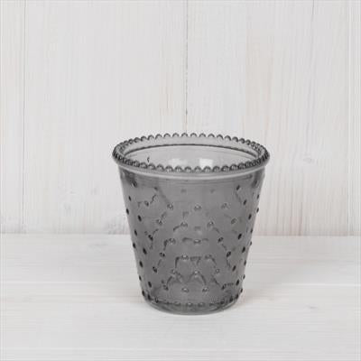 Grey Dimple Glass Tealight Holder