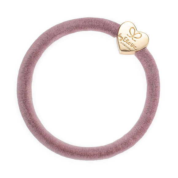 Hair Band Velvet Gold Heart - Champ Pink