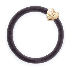 Hair Band Velvet Gold Heart French Grey
