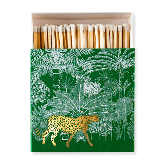 Square Boxed Matches - Green/Gold Cheetah