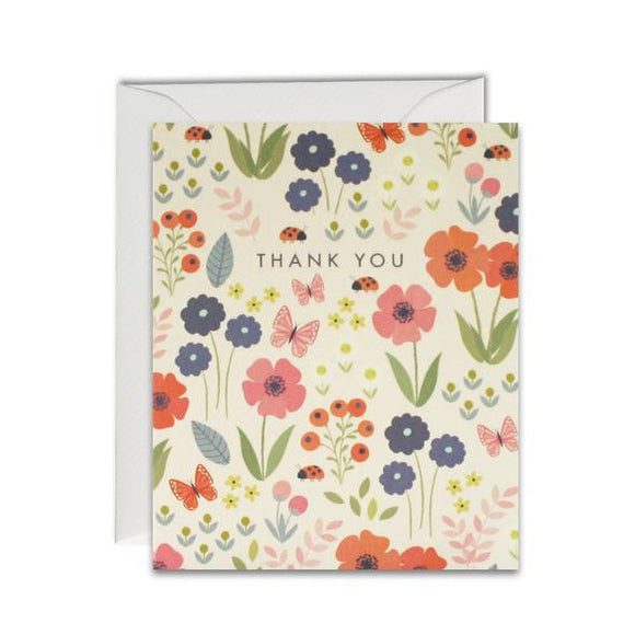 Thank You Flower Pattern Pack of 5 Cards
