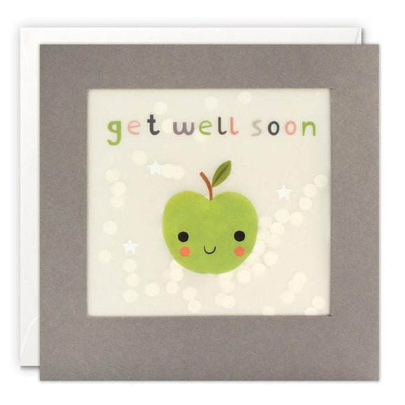 Get Well Soon Apple Grey Paper Shakies