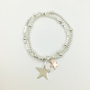 Gracee Jewellery - Double Strand Beaded Bracelet with Stars
