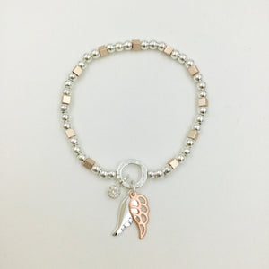 Gracee Jewellery - Beaded Bracelet with Silver & Rose Gold Wings