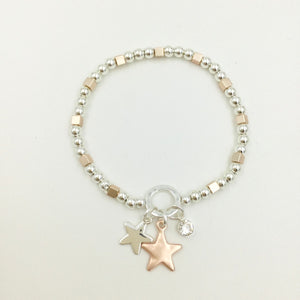 Gracee Jewellery - Beaded Bracelet with Rose Gold Star