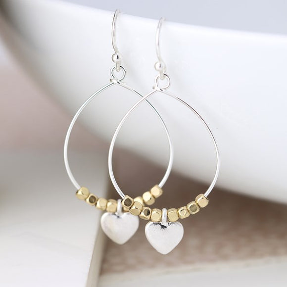 Silver Teardrop Earrings With Golden Beads