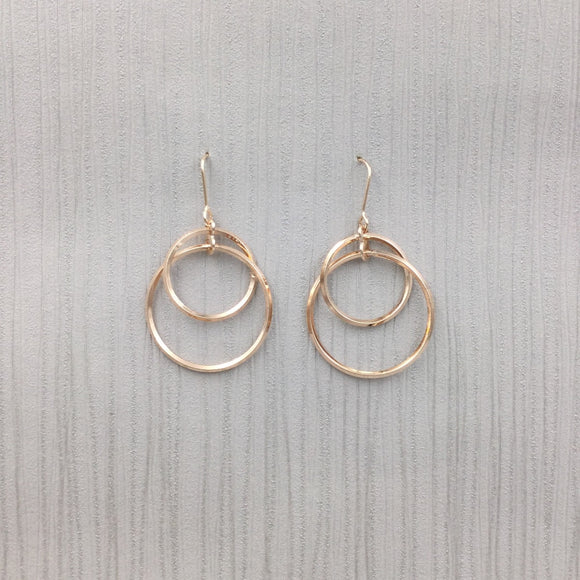 Gracee Jewellery - Double Circle Drop Earrings Rose Gold