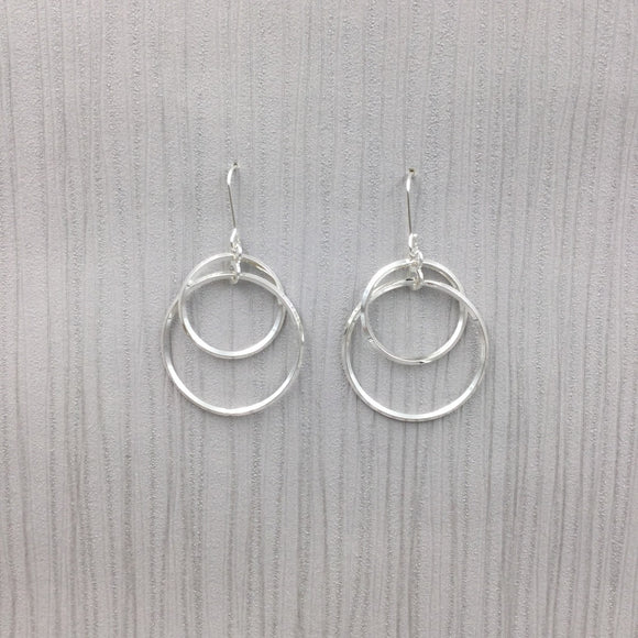 Gracee Jewellery - Double Circle Drop Earrings Silver