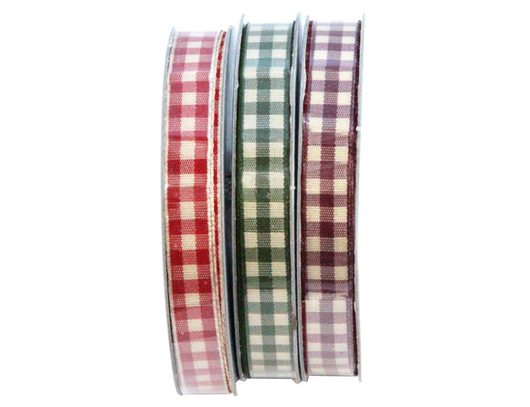 3M Gingham Ribbon 3 Assorted Colours
