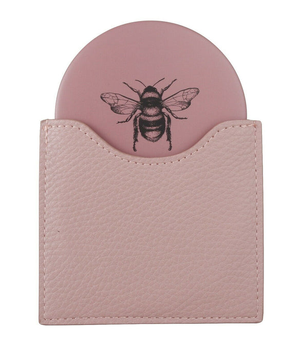 Bee Compact Mirror and Pouch - Available in 4 Colours