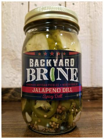 Pickles-Backyard Brine- JALAPENO DILL- 16oz Per Jar