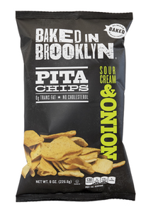 Baked BKLYN Pita Chips SOUR CREAM & ONION-8oz. Per Bag