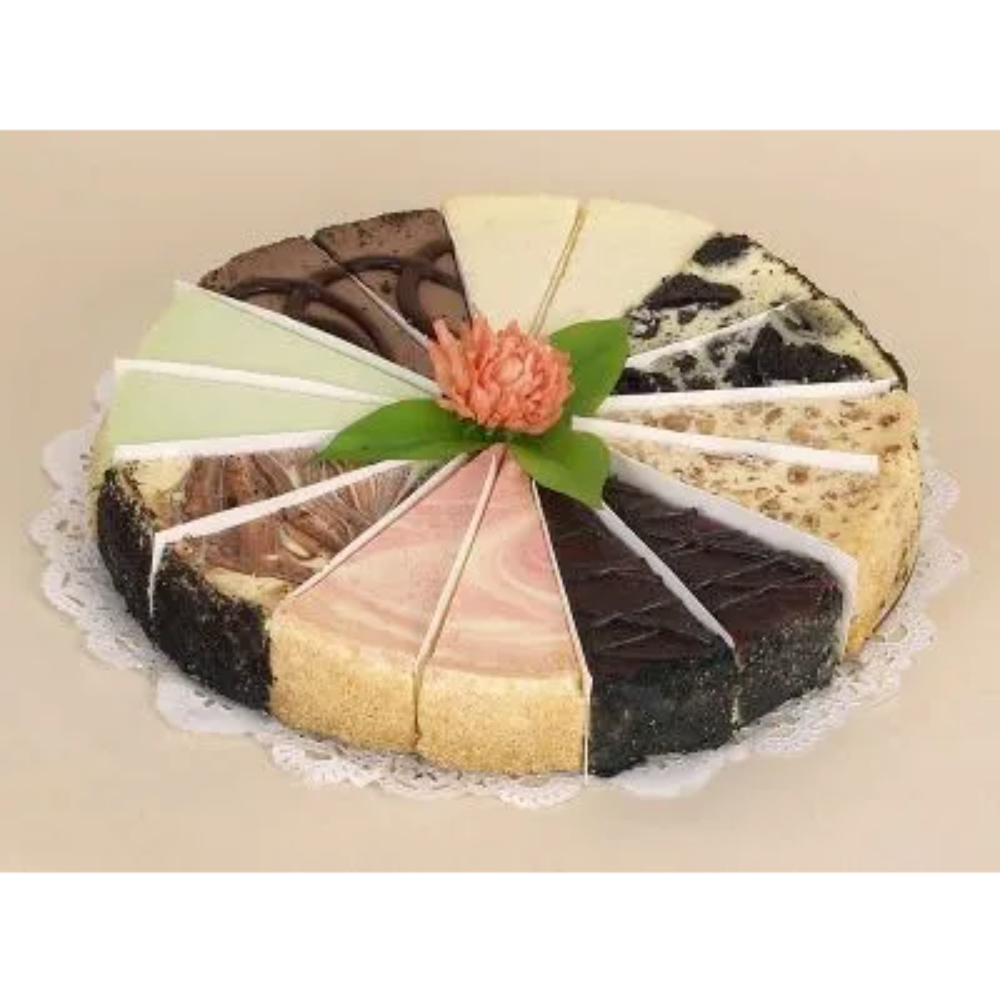 Cheesecake ASSORTED Sampler 16 Slices/8 Flavors Per Cake