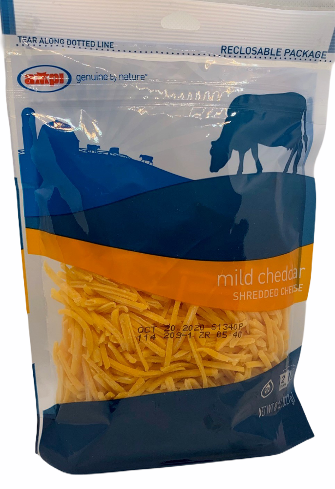 Cheese-Mild Yellow Cheddar SHREDDED-8oz Per Pack